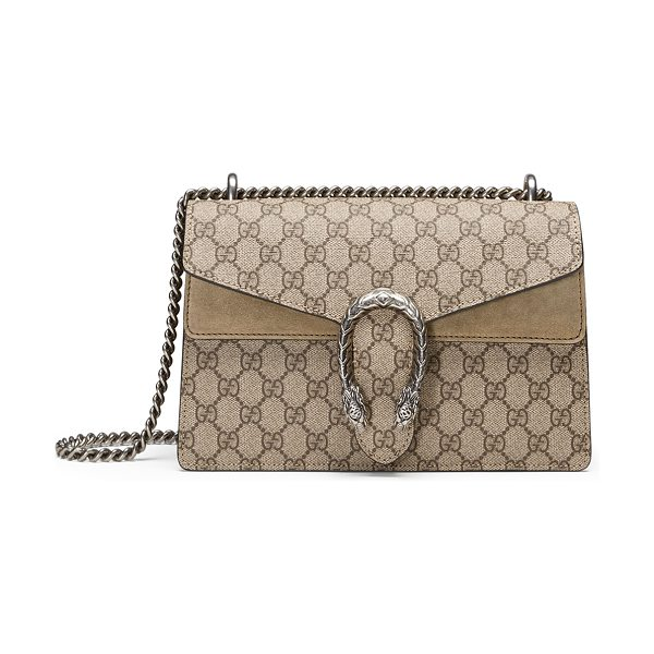 Gucci Dionysus GG Supreme Small Shoulder Bag in taupe - Gucci GG supreme canvas shoulder bag with hand-painted...