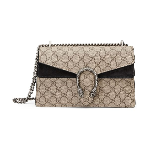 Gucci Dionysus GG Supreme Small Shoulder Bag in black/beige - Gucci GG supreme canvas shoulder bag with hand-painted...