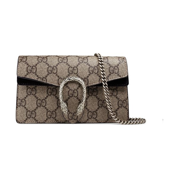 GUCCI Dionysus GG Supreme Super Mini Bag - Gucci GG supreme canvas shoulder bag. Attached key ring...