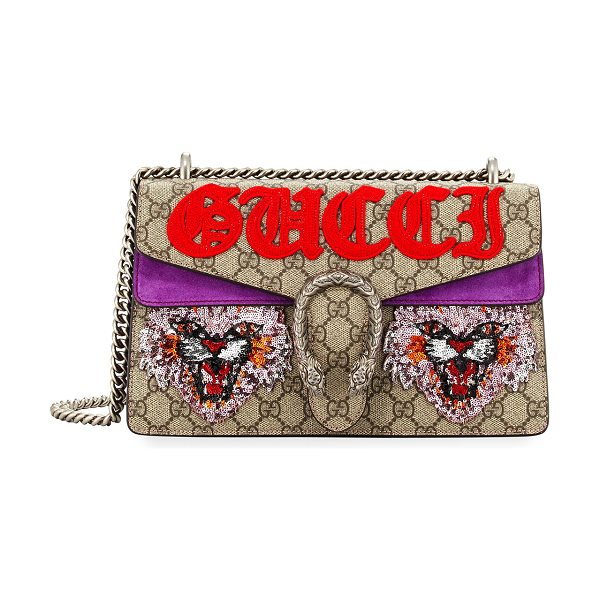 Gucci Dionysus Small Angry Cat Shoulder Bag in neutral pattern - Gucci GG supreme canvas and leather shoulder bag with...
