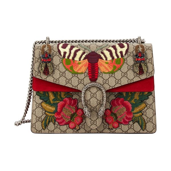 Gucci Dionysus Medium Embroidered GG Supreme Shoulder Bag in brown/red - Beige/ebony GG Supreme canvas, a material with...
