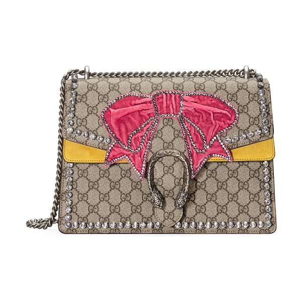 Gucci Dionysus Medium GG Supreme Canvas Shoulder Bag with Crystal Bow in beige - Beige/ebony GG Supreme canvas, a material with...