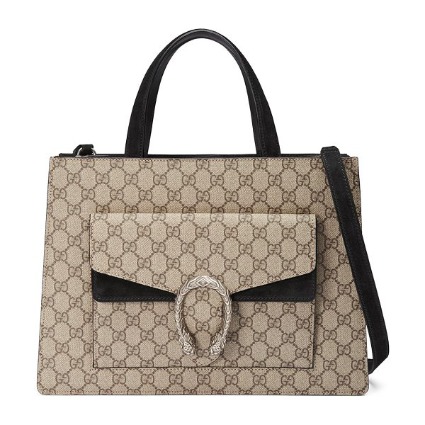 Gucci Dionysus Medium GG Supreme Tote Bag in beige/ebony/nero - Gucci GG supreme canvas tote bag with suede trim. Flat...