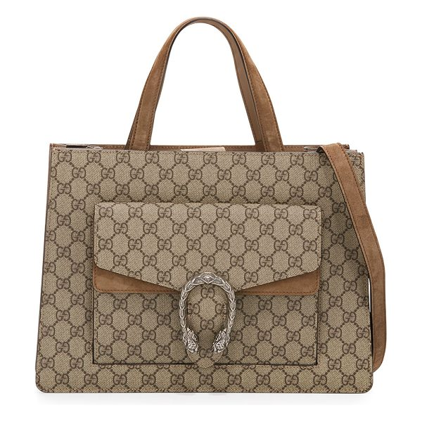 Gucci Dionysus Medium GG Supreme Tote Bag in beige/taupe - Gucci GG supreme canvas tote bag with suede trim. Flat...