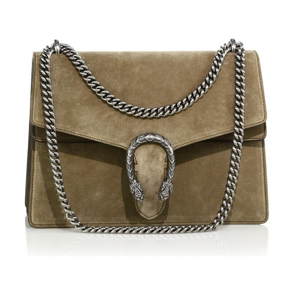 Gucci dionysus medium suede shoulder bag in taupe - A textured tiger head spur adds an ornamental touch to...