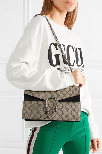 Gucci dionysus small printed coated-canvas and suede shoulder bag in beige