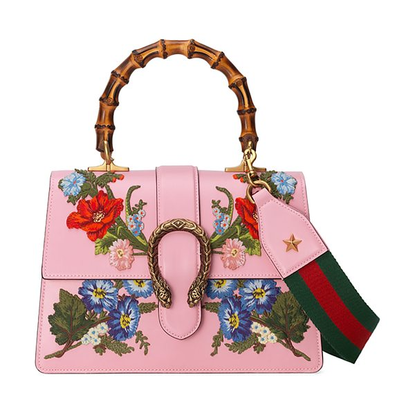 "Gucci Dionysus Small Embroidered Floral Satchel Bag in pink - Gucci ""Dionysus"" leather satchel bag with embroidered..."