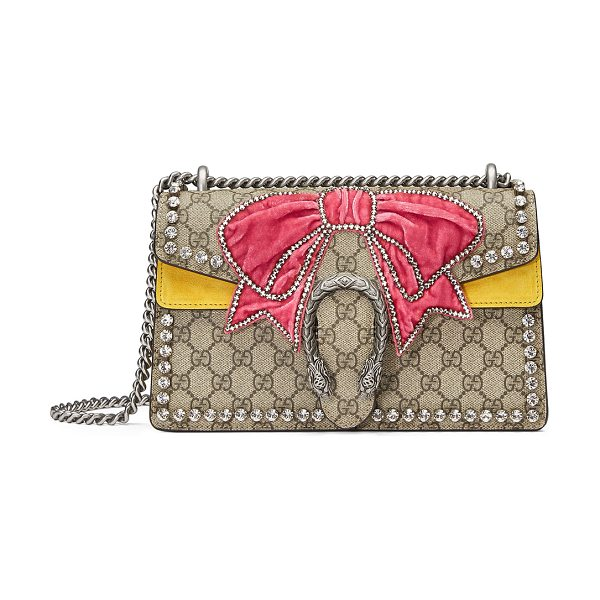 b9eb28987afb Gucci Dionysus Small Gg Supreme Shoulder Bag With Bow & Crystals ...