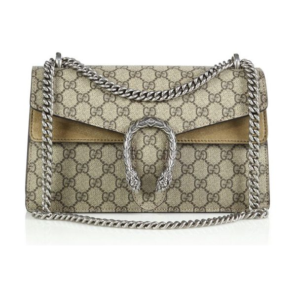 Gucci dionysus gg supreme small coated canvas shoulder bag in beigeebony-natural - Crafted from signature coated canvas made using an...