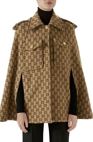 Gucci double g monogram wool cape in beige
