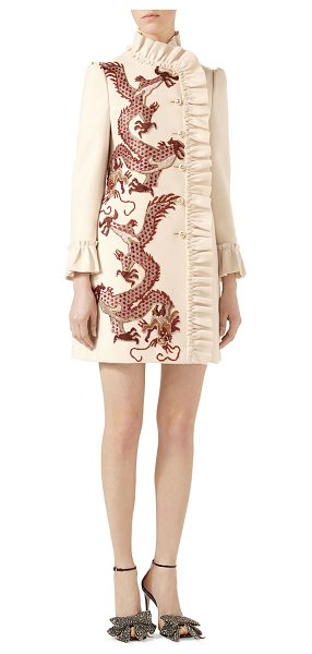 GUCCI Dragon Embroidered Wool Coat - Wool coat. Dragon embroideries. GG pearl buttons. Ruffle...