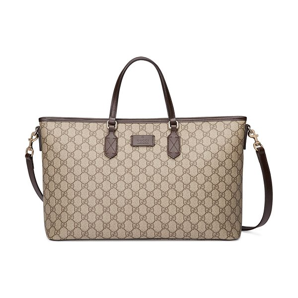 Gucci Eden GG Medium Tote Bag w/ Strap in brown - Gucci medium GG supreme canvas tote bag with leather...