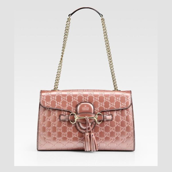 Gucci Emily shine ssima leather chain shoulder bag in pink - Shine guccissima leather with shine guccissima leather...