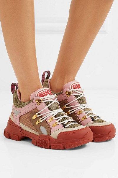 Gucci flashtrek logo-embossed leather, suede and mesh sneakers in baby pink - 'Dad' sneakers are far from a new thing, and this season...