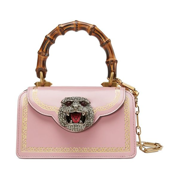 Gucci frame print leather mini top handle bag in pink