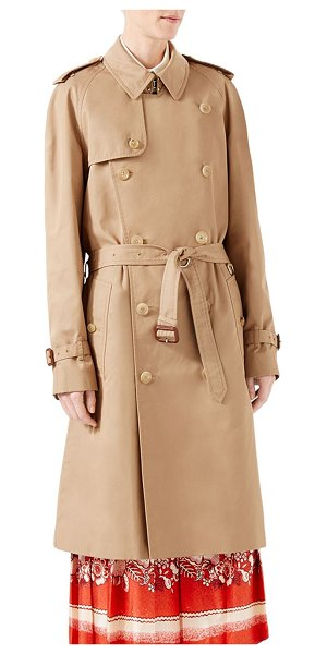 Gucci gabardine embroidered trench coat in camel - Menswear double-breasted trench coat with a sequin...