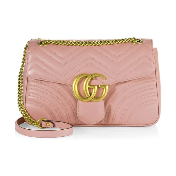"Gucci gg 2.0 medium quilted leather shoulder bag in perfectpink - Adjustable chain-and-leather shoulder strap, 11.75"" or..."