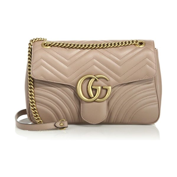 """GUCCI gg 2.0 medium quilted leather shoulder bag in rose - Adjustable chain-and-leather shoulder strap, 11.75"""" or..."""