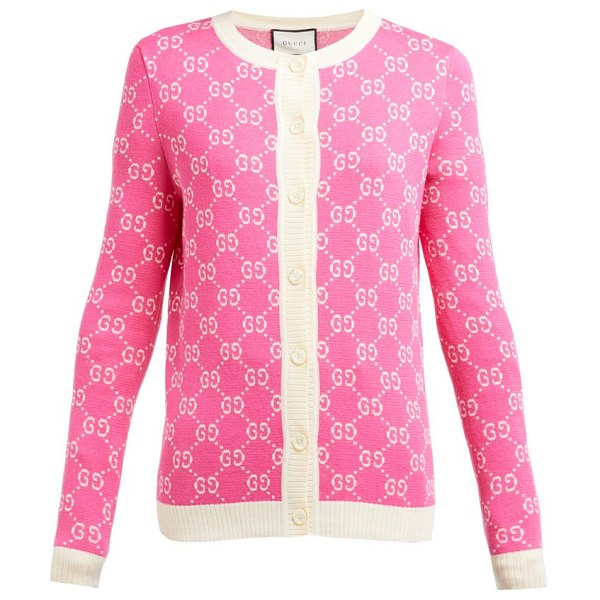 Gucci gg jacquard knit cotton cardigan in pink white
