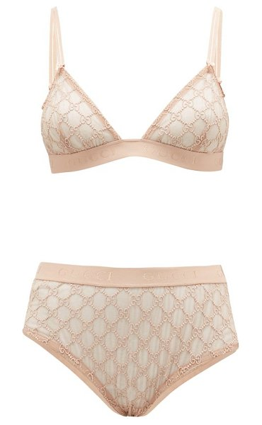 Gucci gg-jacquard mesh bra and high-rise briefs in light pink
