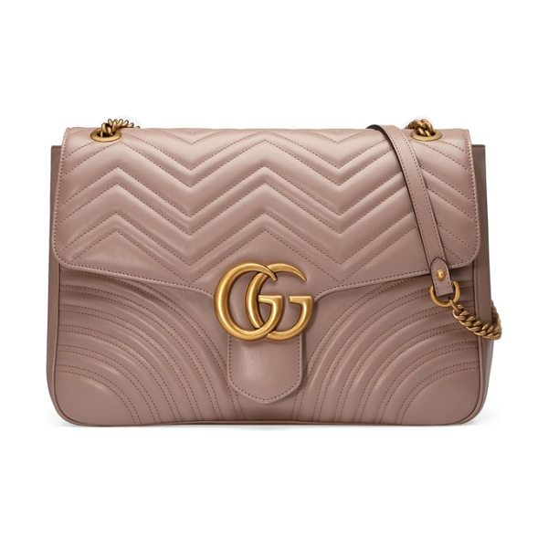 Gucci gg large marmont 2.0 matelasse leather shoulder bag in beige - Double-G logos-inspired by a '70s-era design found in...