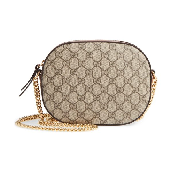 GUCCI gg linea canvas & leather camera bag in beige/ ebony/ cuir - Smooth leather details and Gucci's GG Supreme canvas add...
