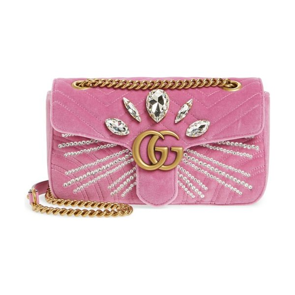 Gucci gg marmont 2.0 crystal embellished velvet crossbody bag in malva/ pink/ crystal - Radiant crystals and shining double-G hardware-inspired...