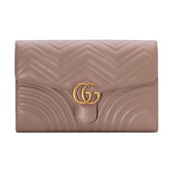 Gucci gg marmont 2.0 matelasse leather clutch in porcelain rose - Shining double-G hardware-inspired by a '70s-era...