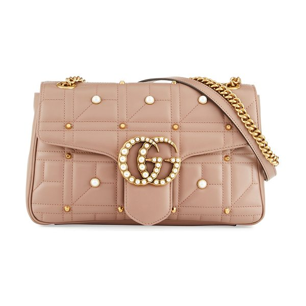 GUCCI GG Marmont Medium Pearly Shoulder Bag - Gucci matelass leather shoulder bag with pearly studs....
