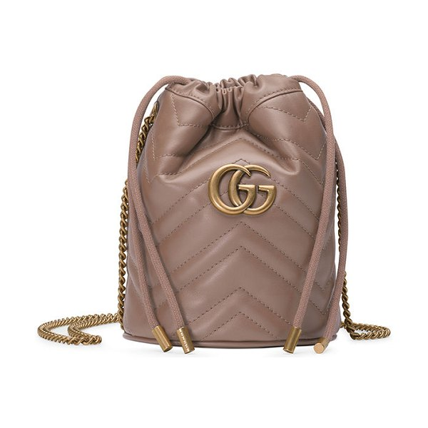 Gucci GG Marmont 2.0 Mini Leather Bucket Bag in light beige