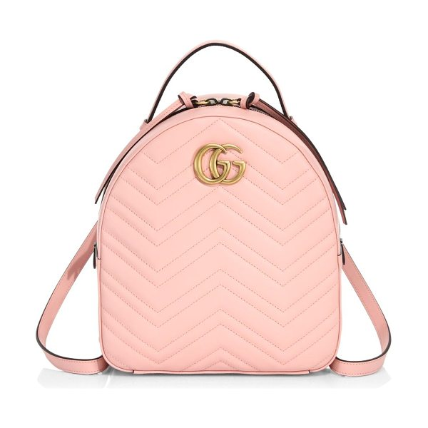 Gucci gg marmont chevron quilted leather mini backpack in pink - The GG Marmont backpack has a softly structured shape...