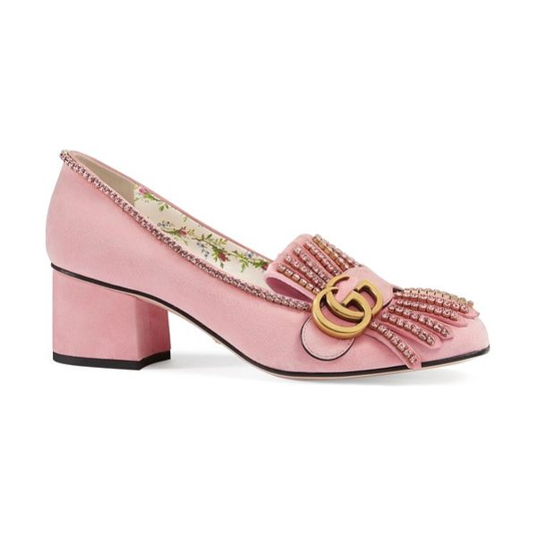 Gucci gg marmont crystal embellished pump in light rose - Pink suede and a rose-patterned lining detail this...