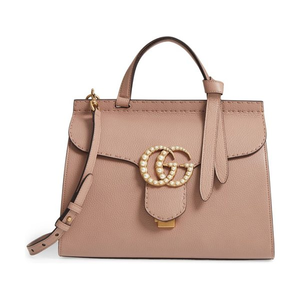 Gucci gg marmont imitation pearl logo top handle leather satchel in rose/cream - Double-G hardware inspired by a '70s-era design found in...