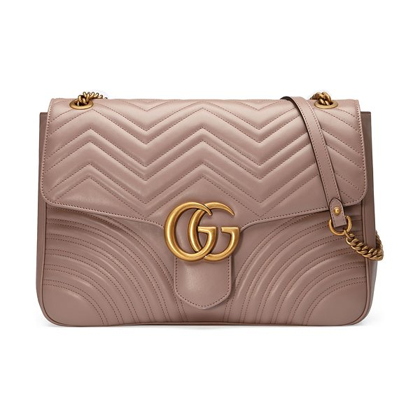 "Gucci GG Marmont Large Chevron Quilted Leather Shoulder Bag in beige - Gucci ""Marmont"" shoulder bag in matelass chevron calf..."