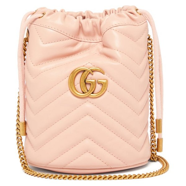 Gucci gg marmont leather bucket bag in light pink