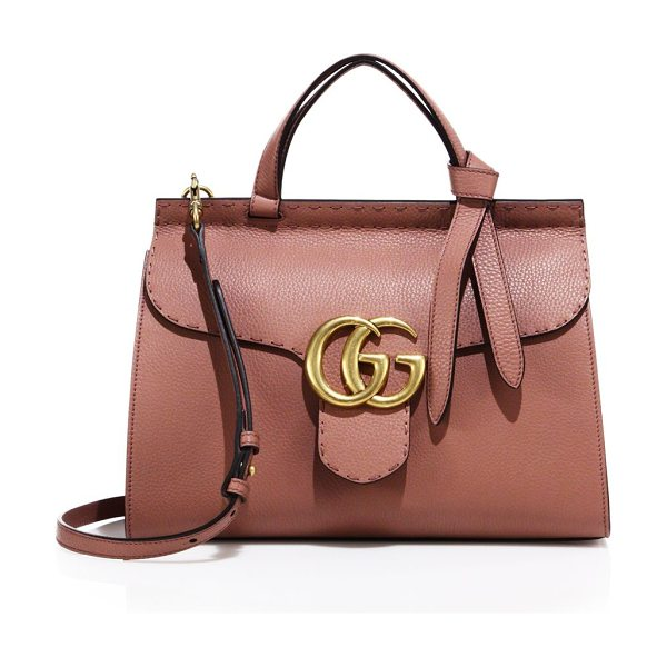 Gucci gg marmont leather top-handle bag in rose - Flap closure with pin and side release. Double top...