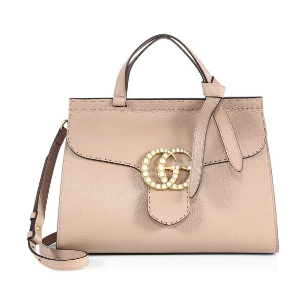 "Gucci gg marmont leather top-handle bag in pink - Double top handles, 3.75"" drop. Removable shoulder..."