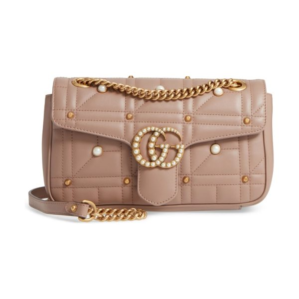 Gucci gg marmont matelasse imitation pearl leather shoulder bag in white/ pink - Double-G hardware inspired by a '70s-era design found in...