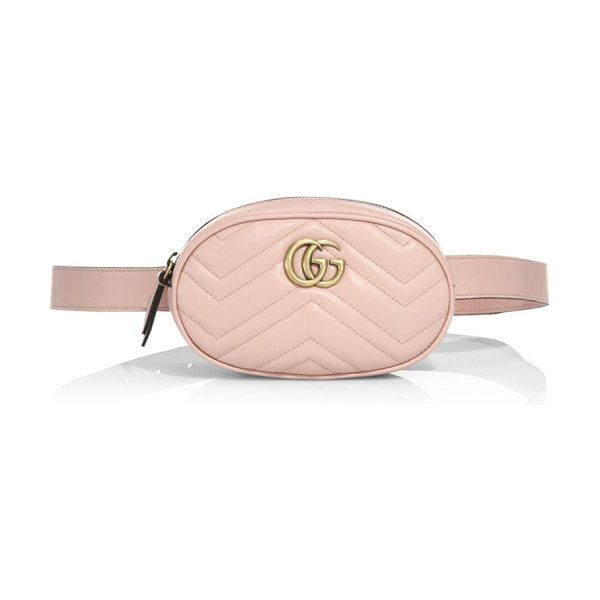 Gucci gg marmont matelasse leather belt bag in rosa - Matelasse chevron leather with leather detail. Can be...