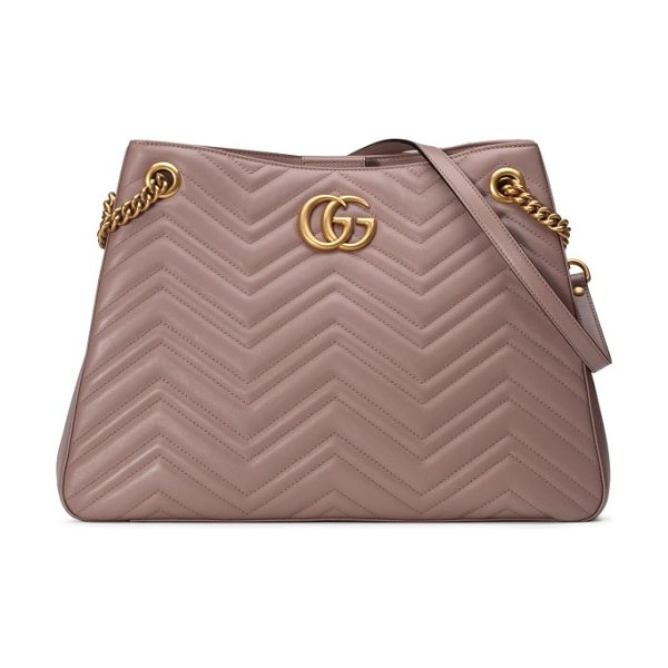 Gucci gg marmont matelasse leather shoulder bag in porcelain rose - Signature matelasse-quilted chevrons, complete with a...