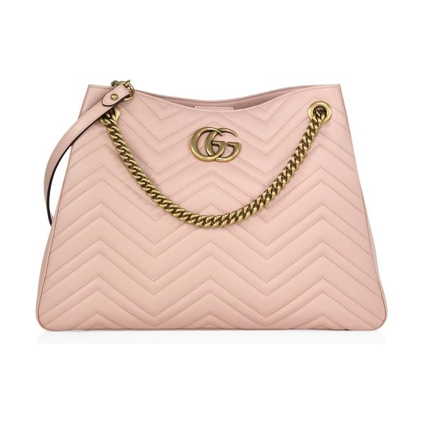 "GUCCI gg marmont matelasse leather shoulder bag - Chain-and-leather shoulder strap, 10"" drop. Concealed..."