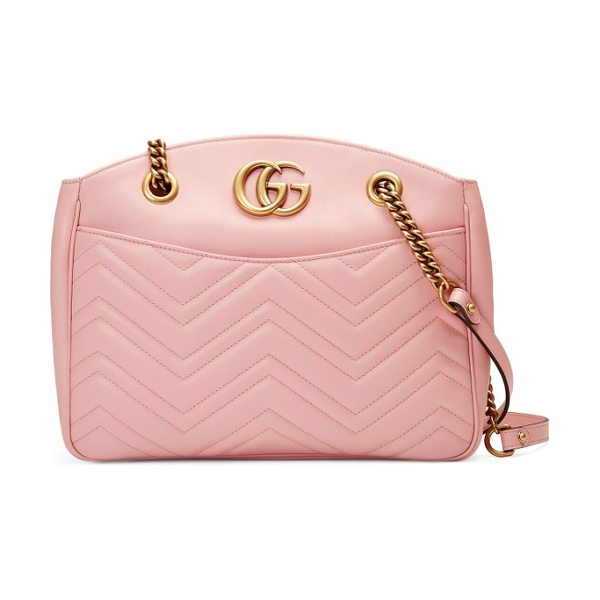 Gucci gg marmont matelasse leather shoulder bag in perfect pink - Double-G logos inspired by a '70s-era design found in...