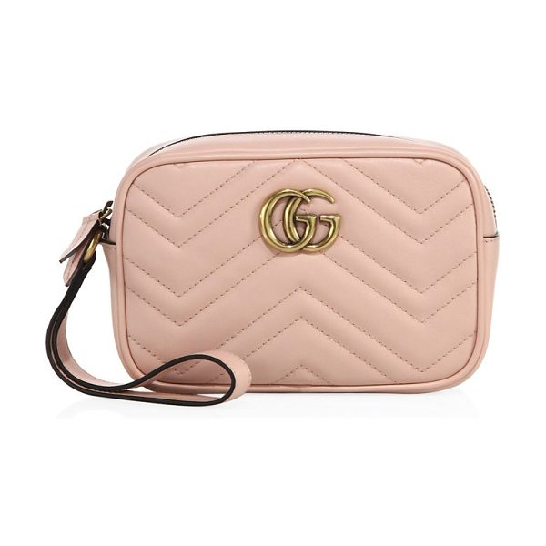 """Gucci gg marmont matelasse leather pouch in perfectpink - Wrist strap, 5.5"""" drop. Top zip closure. Antiqued..."""