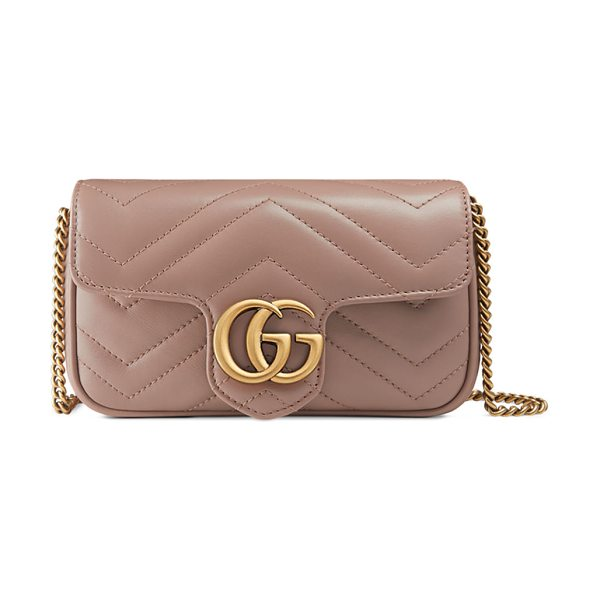 GUCCI GG Marmont Matelasse Leather Super Mini Bag in taupe - Gucci matelass chevron leather shoulder bag. Attached...