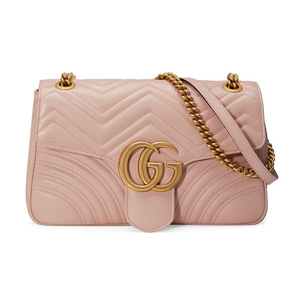"Gucci GG Marmont Medium Leather Shoulder Bag in beige - Gucci ""Marmont"" quilted leather shoulder bag. Sliding..."
