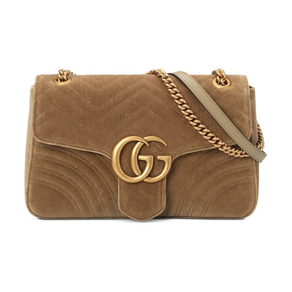 Gucci GG Marmont Medium Quilted Shoulder Bag in beige - Gucci matelasse velvet shoulder bag with leather trim....