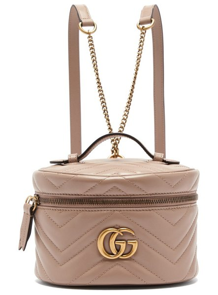 Gucci gg marmont mini leather backpack in nude