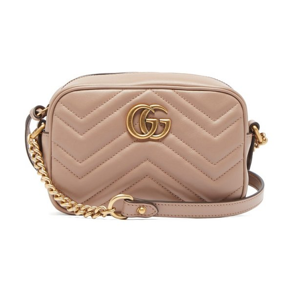 Gucci gg marmont mini quilted leather cross body bag in nude