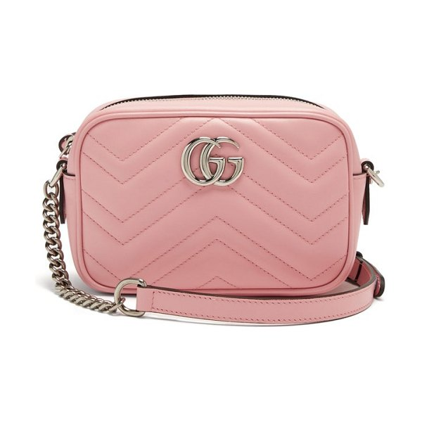 Gucci gg marmont mini quilted-leather cross-body bag in pink