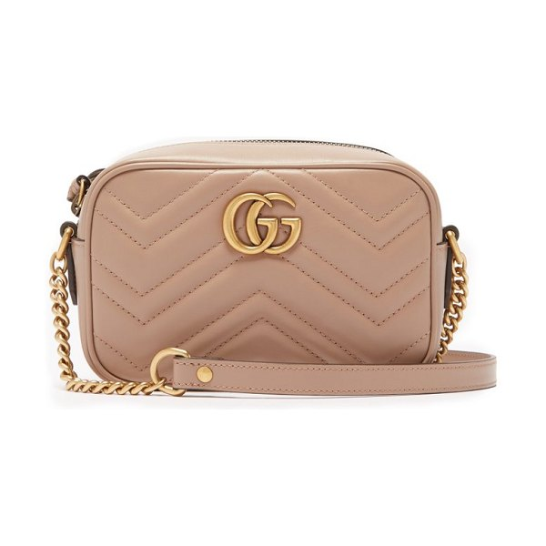 Gucci gg marmont mini quilted leather cross body bag in nude - Gucci - Gucci's classic GG Marmont quilted bag comes in...